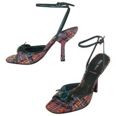 Never Worn Miu Miu Wool Tweed Strappy Sandals With Green Leather Details