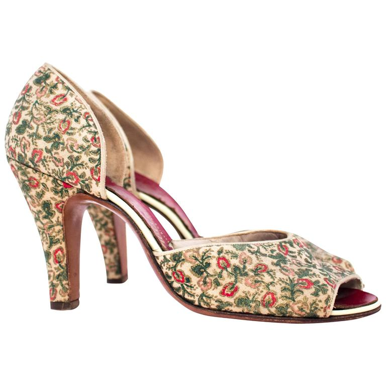 50s Red, Pink & Green Floral Peep-toe Heels  For Sale