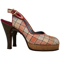 40s Red, Navy & Tan Plaid Platform Peep-toe Cork Heels