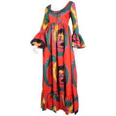 1970's Geoffrey Beene Printed Silk Gown