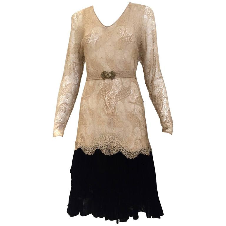 1920s lace dress with velvet trim