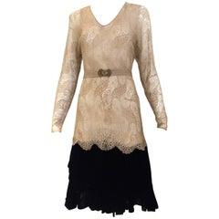 1920s lace dress with velvet trim