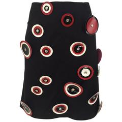 Paco Rabanne mini skirt with leather cut out circles