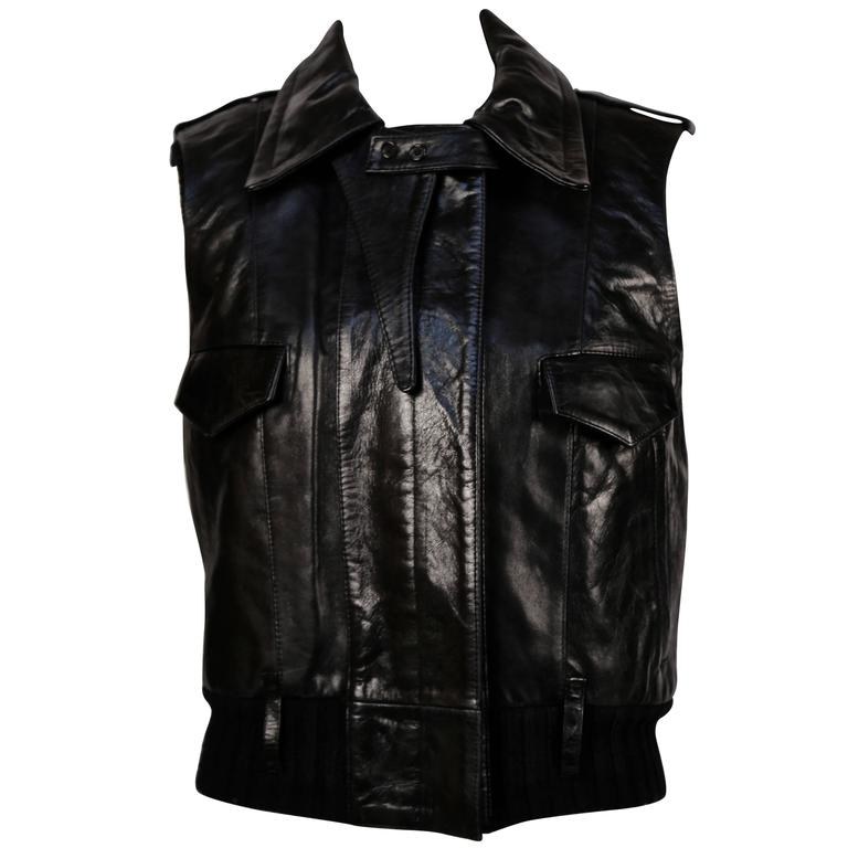 2002 BALENCIAGA by Nicolas Ghesquiere black leather runway vest with wool trim For Sale
