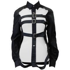 2008 COMME des GARÇONS black cut-out cage shirt