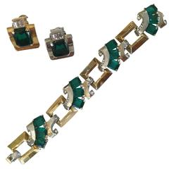 Art Deco Mazer Bracelet and Earring Set. Late 1930's.