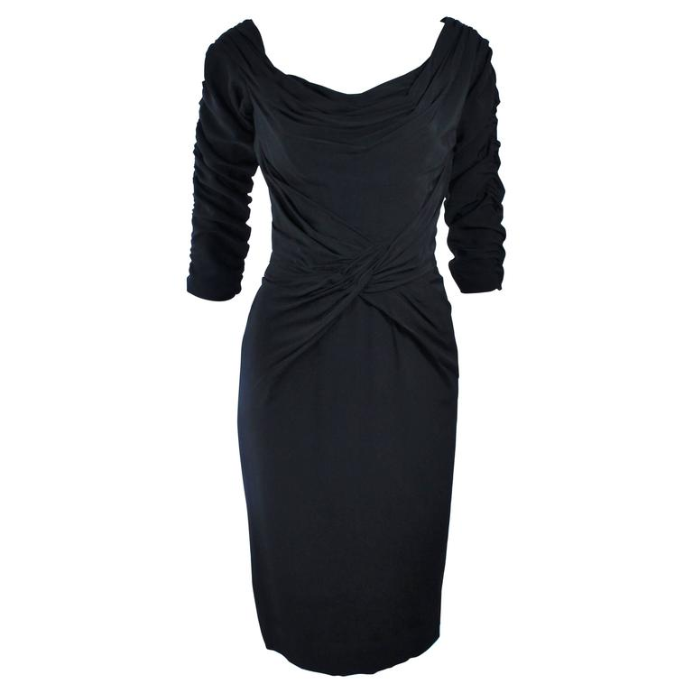 CEIL CHAPMAN Black Gathered Cocktail Dress Size 4 6