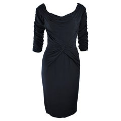 CEIL CHAPMAN Black Gathered Cocktail Dress Size 4 6