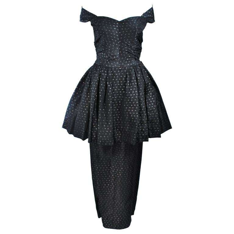 CEIL CHAPMAN Black & Gold Metallic Gown with Peplum Size 2 4 1