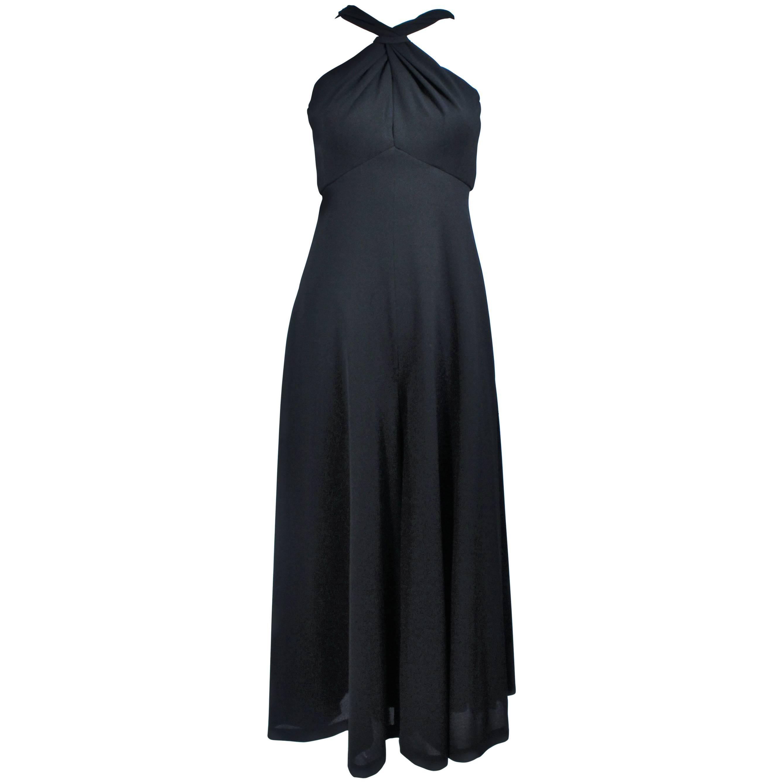 LEO NARDUCCI 1970's Criss Cross Black Wool Jumpsuit Size 4