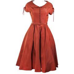 DELLTOWN 1950's Burnished Orange Scalloped Edge Cocktail Dress Size 2