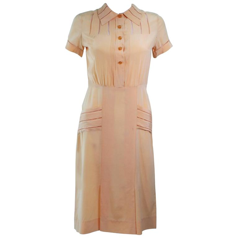 Vintage 1940's Apricot Silk Day Dress Size 2 4