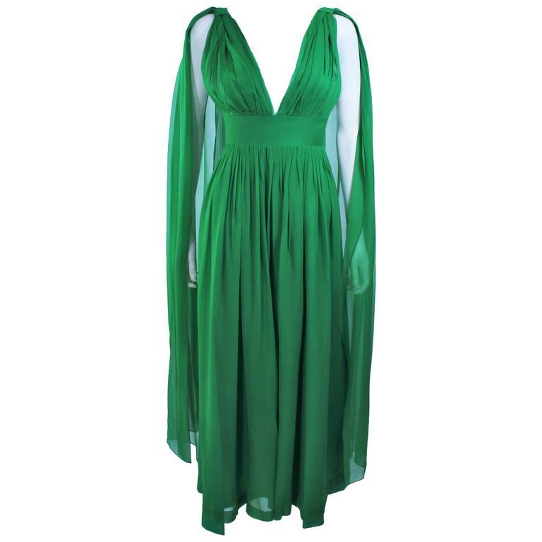 Custom 1950's Green Draped Chiffon Cocktail Dress Size 4 6