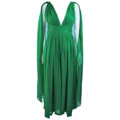 Custom 1950's Green Draped Chiffon Cocktail Dress Size 4 6