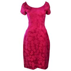SCHIAPARELLI Attributed Pink Brocade Cocktail Dress Size 4