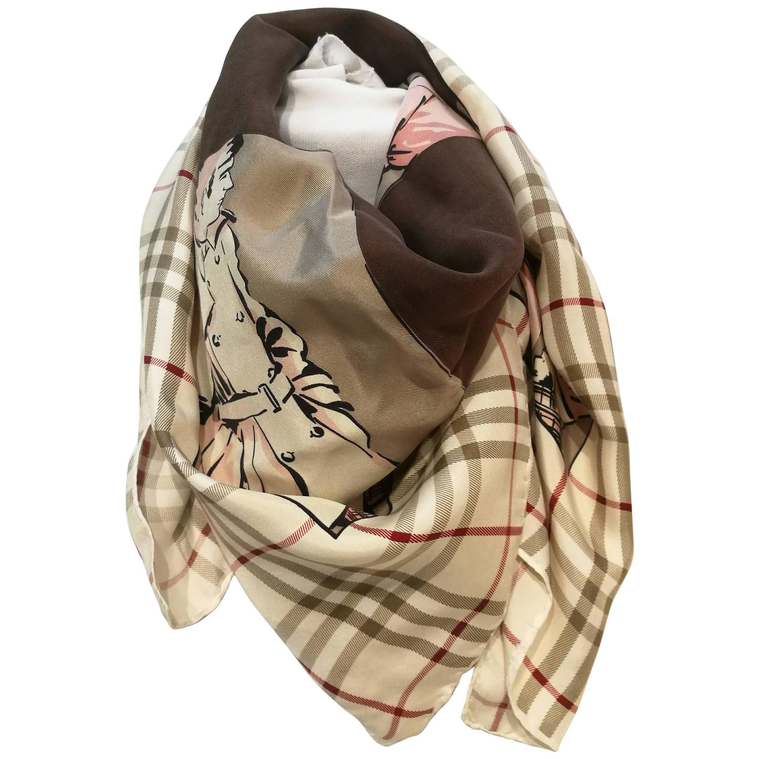 burberry multitone silk scarf at 1stdibs