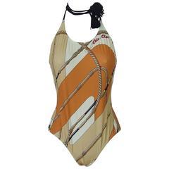 Hermes Halterneck Swimsuit Clic Clac Pattern Orange Size 38