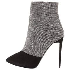 Giuseppe Zanotti NEW & SOLD OUT Black Suede Crystal Heels Ankle Booties