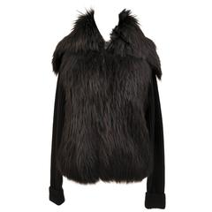Versace black knit wool sweater with fur