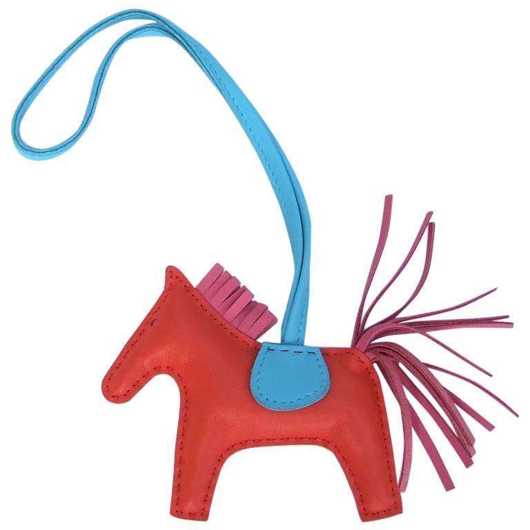 4f88ce297d Hermes Grigri Rodeo Horse Kelly Birkin Bag Charm Orange Rose Bleu PM For  Sale
