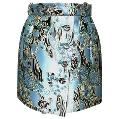 Balenciaga by Nicolas Ghesquiere printed mini skirt with front buttons, Sz 8