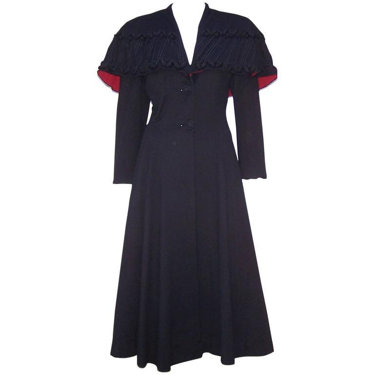 1940's Eisenberg Victorian Style Capelet Princess Coat For Sale