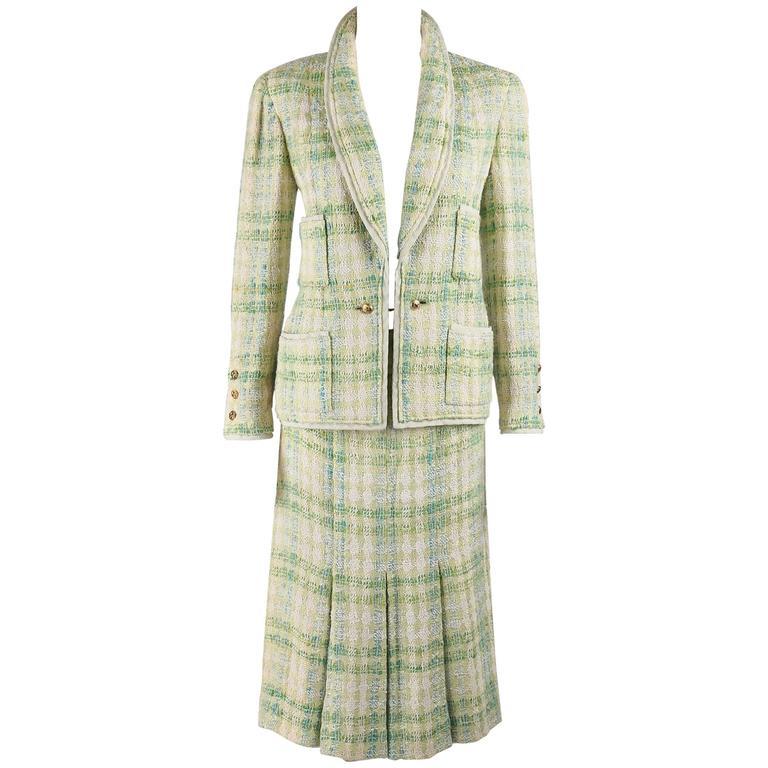 CHANEL Boutique S/S 1984 2 Pc Classic Tweed Blazer Jacket Skirt Suit Set 40 / 46 1