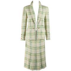 CHANEL Boutique S/S 1984 2 Pc Classic Tweed Blazer Jacket Skirt Suit Set 40 / 46