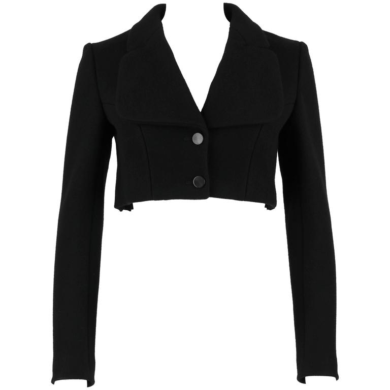 AZZEDINE ALAIA Paris Black Wool Cashmere Pleated Cropped Jacket Bolero Size 36
