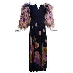 1980s Hanae Mori Hand Painted Maxi Dress with Dramatic Feathered Sleeves
