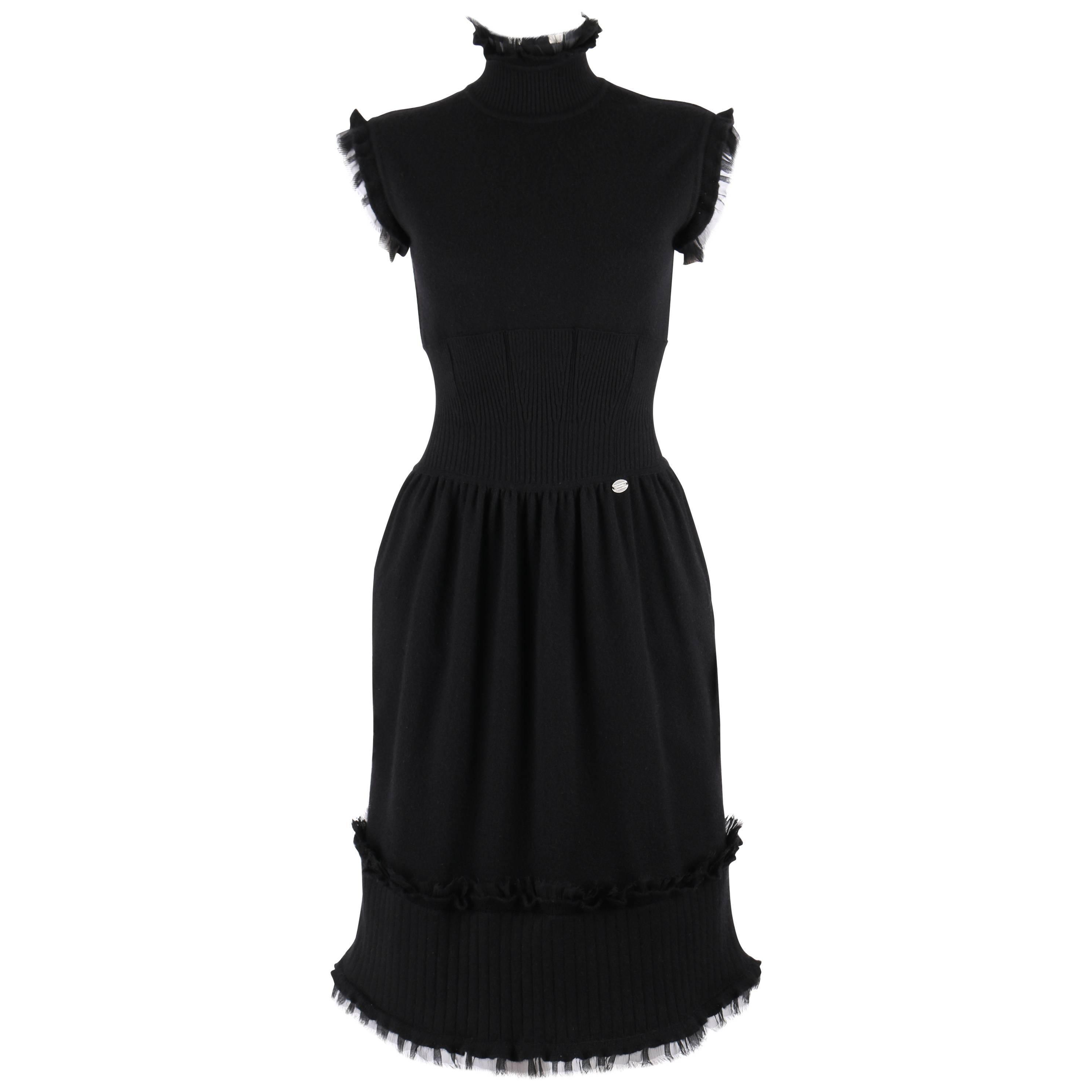 CHANEL Pre Fall 2008 Black Cashmere Knit Mock Neck Dress Silk Raw Edge Trim 34