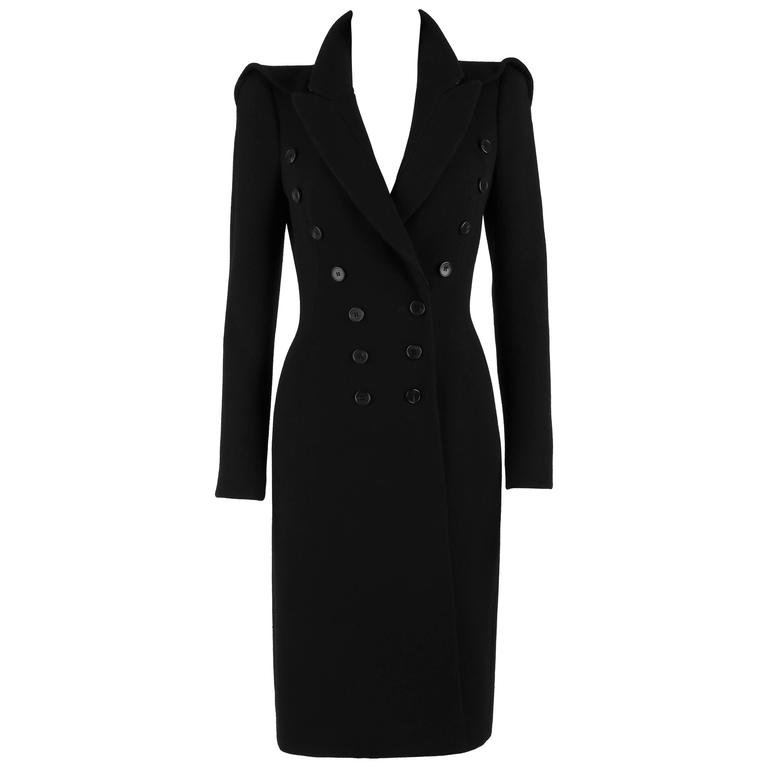 ALEXANDER MCQUEEN Black Wool Double Breasted Tailored Military Coat Size 38 11A