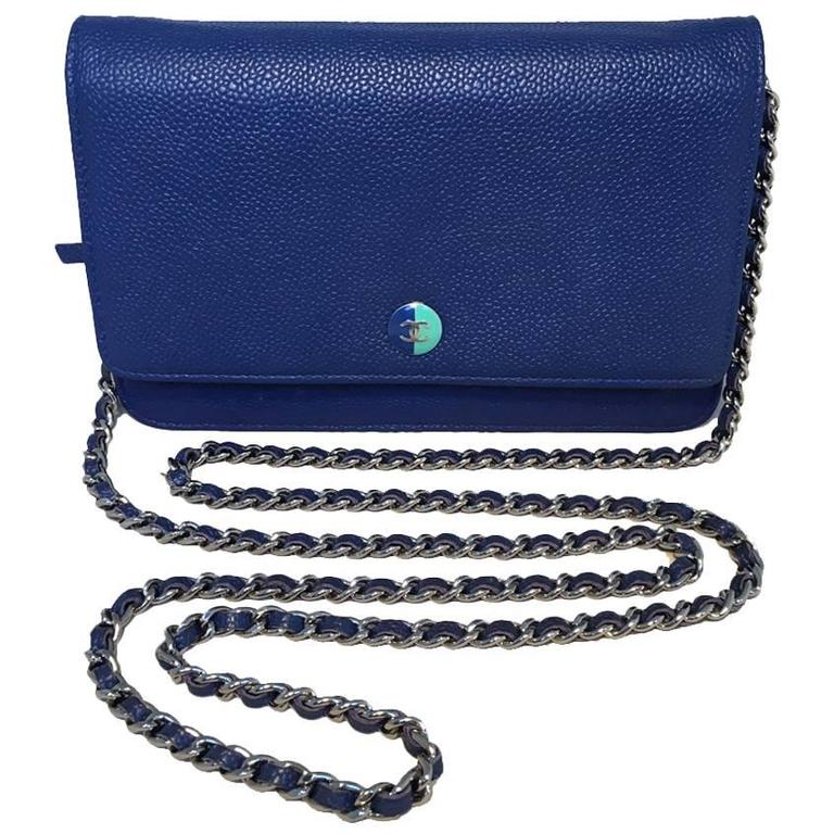 RARE Chanel Blue Caviar Leather Wallet on a Chain WOC 1