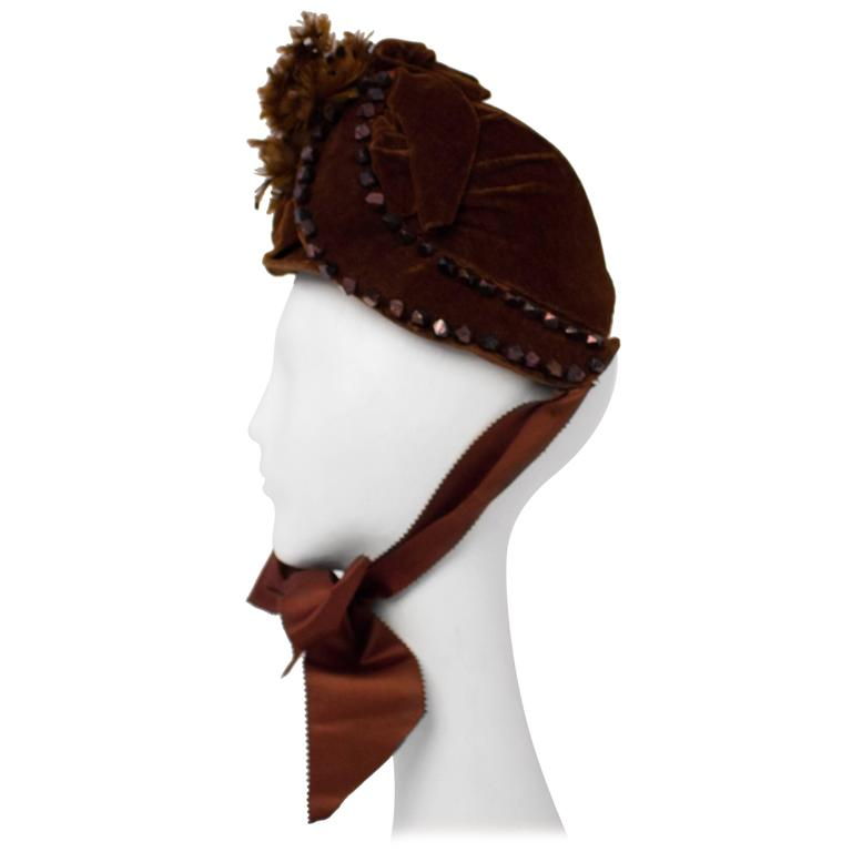 Victorian Brown Velvet Bonnet with Feathers.  For Sale