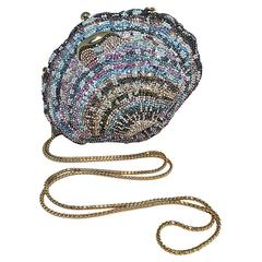 Judith Leiber Swarovski Crystal Shell Minaudiere Evening Bag