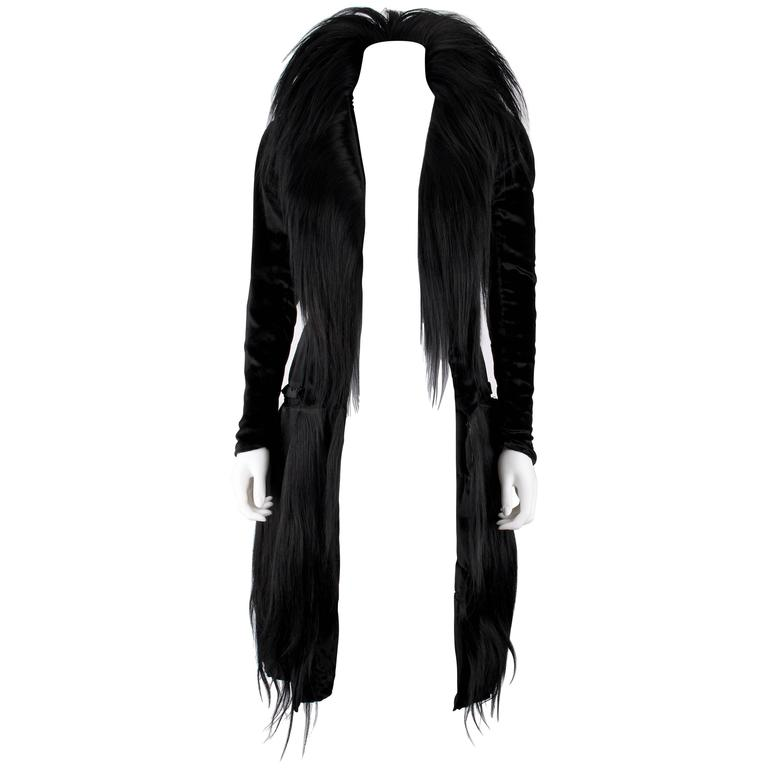 Black Monkey Fur Silk Velvet Avant Garde Art Deco Flapper Coat Circa 1920's OOAK For Sale