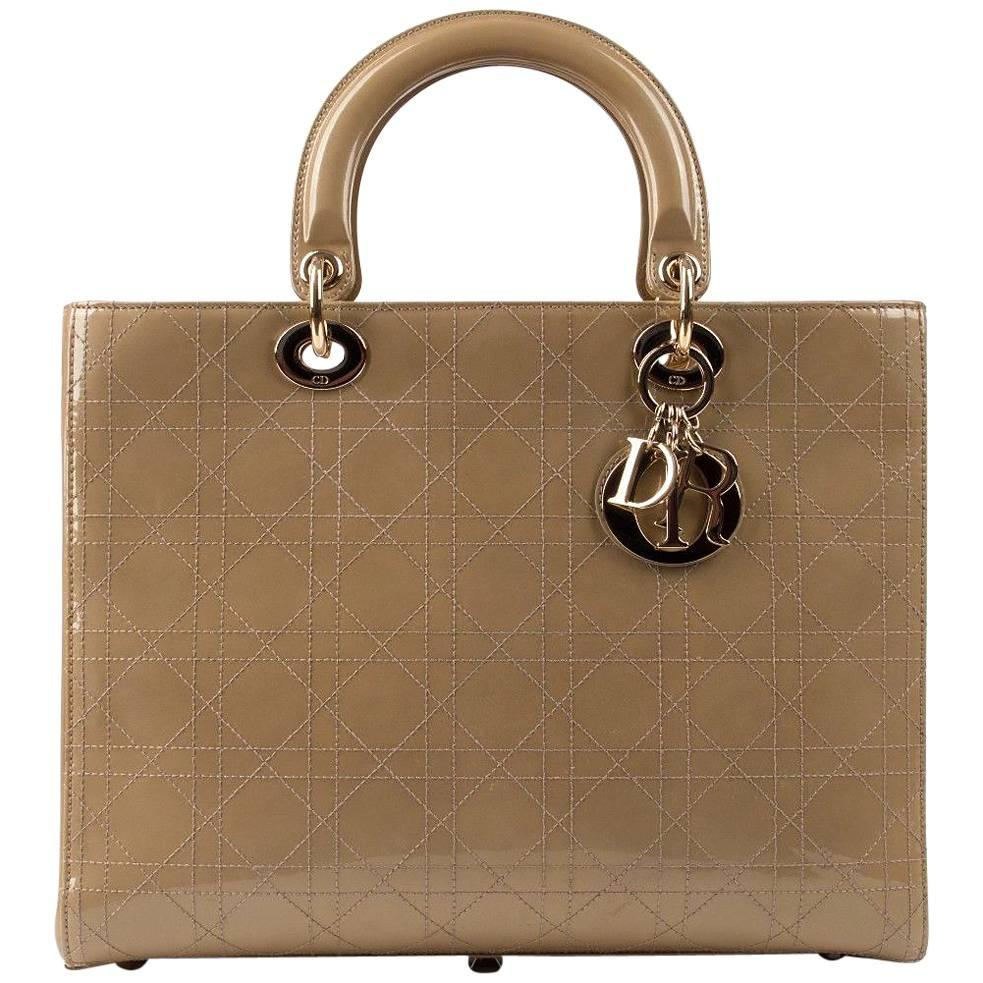 "CHRISTIAN DIOR ""Lady"" Sand / Beige Patent Leather Handbag Tote Purse + Strap"