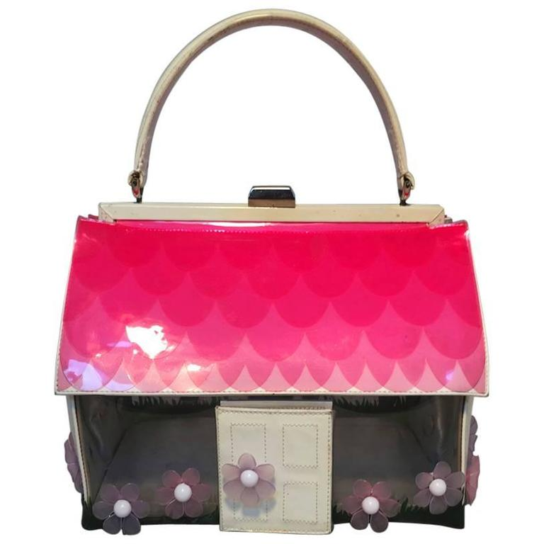 Vintage RARE Moschino Patent Leather House Handbag  For Sale