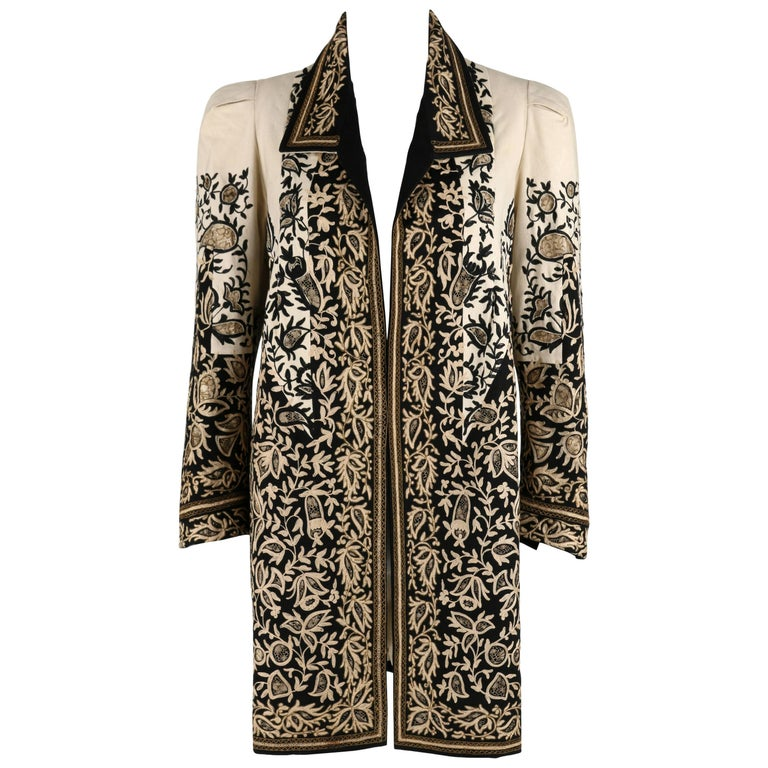 COUTURE c.1910's Edwardian Museum Piece Embroidered Cutwork Lace Jacket Coat For Sale