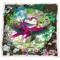 "Hermes New 55"" Cashmere Silk Flamingo Party Shawl, Box"