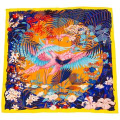 "Hermes 55"" New Cashmere Flamingo Party Shawl in Box"