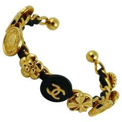 Chanel Vintage Rare Interwoven Gold Chain & Black Leather Coin Rigid Bracelet