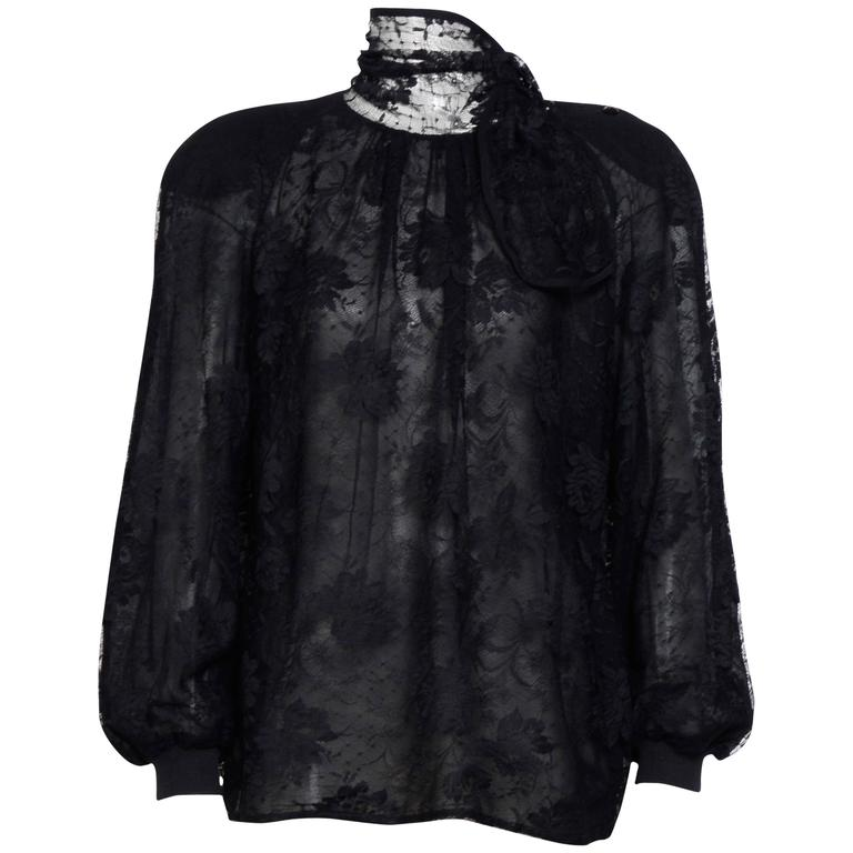 Vintage Valentino Black Lace Blouse. For Sale