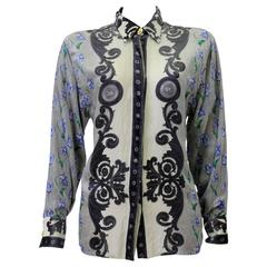 Important Gianni Versace Couture Baroque Print Velvet Shirt