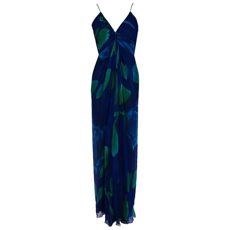 1970's Rappi Watercolor Blue Green Abstract Print Silk Ruched Goddess Maxi Dress For Sale