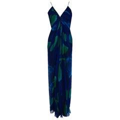 1970's Rappi Watercolor Blue Green Abstract Print Silk Ruched Goddess Maxi Dress