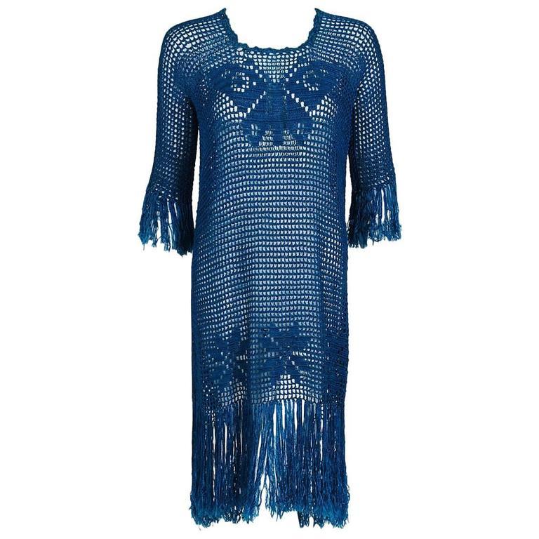 1920's Turquoise-Blue Crochet Silk-Knit Novelty Butterfly Fringe Flapper Dress  For Sale