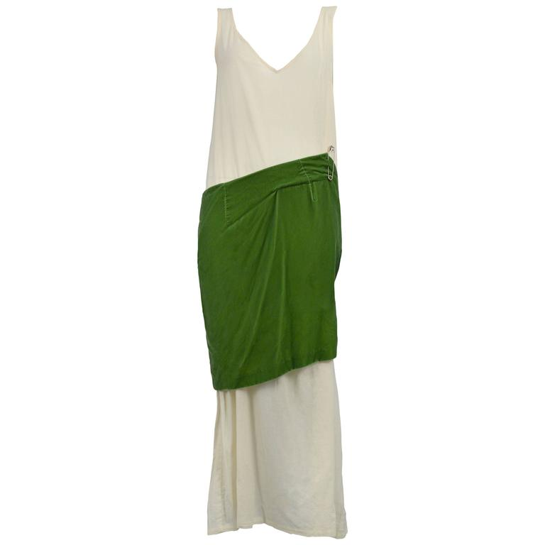 Comme des Garcons Muslin and Green Velvet Gown 1996 For Sale at 1stdibs