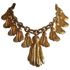 Yves Saint Laurent Rive Gauche 1970's Golden Tassel Necklace