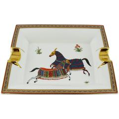 Hermes Large Cheval d'Orient Porcelain Cigar Ashtray Pin Tray